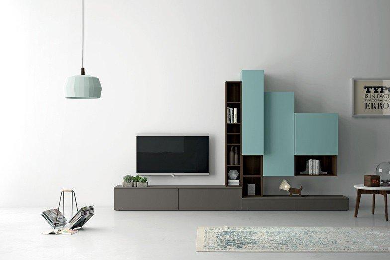 Tv-meubel met laden, kleppen en deuren. Model Slim 87 05 2 - Lundia ...