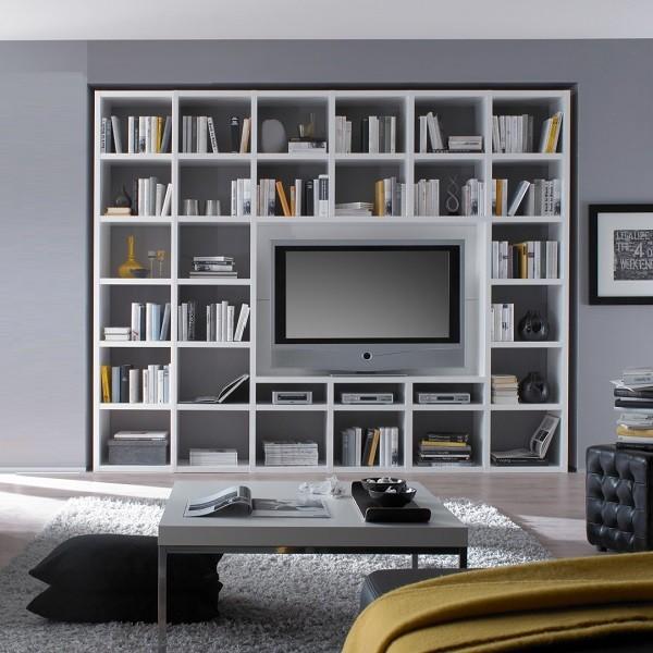 TV wandmeubel Cube 66A . Wit gelakte boekenkast met tv unit.