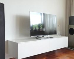 Zwevend tv dressoir wit met lade en klep