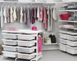 Wandrailsysteem Elfa walk in closet